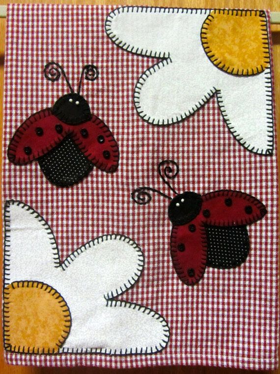 Ladybug Applique Hand Towel Tea Towel Kitchen by RkyMtnCrafts