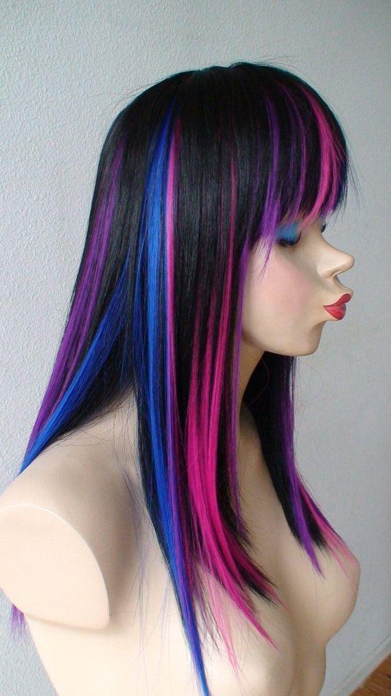 Black Pink Purple Blue Wig Straight Black Hair With Color Under Wig Durabl