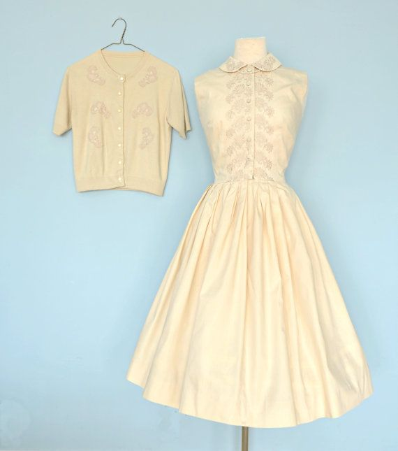 Vintage 1960s Day Dress...JERRY GILDEN Cotton Cafe Latte by deomas, $168.00