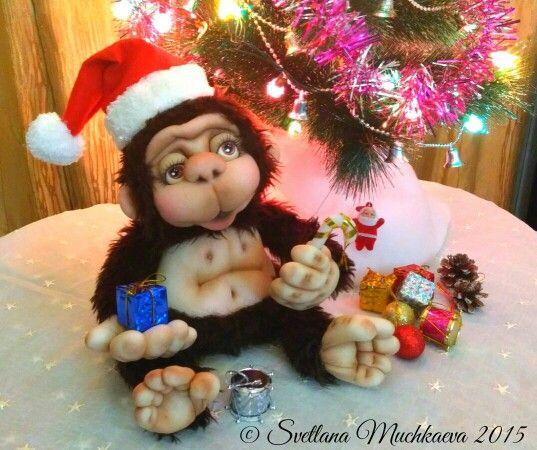 Интерьерная обезьянка,символ 2016г.Ручная работа.Текстильно-скульптурная техника.