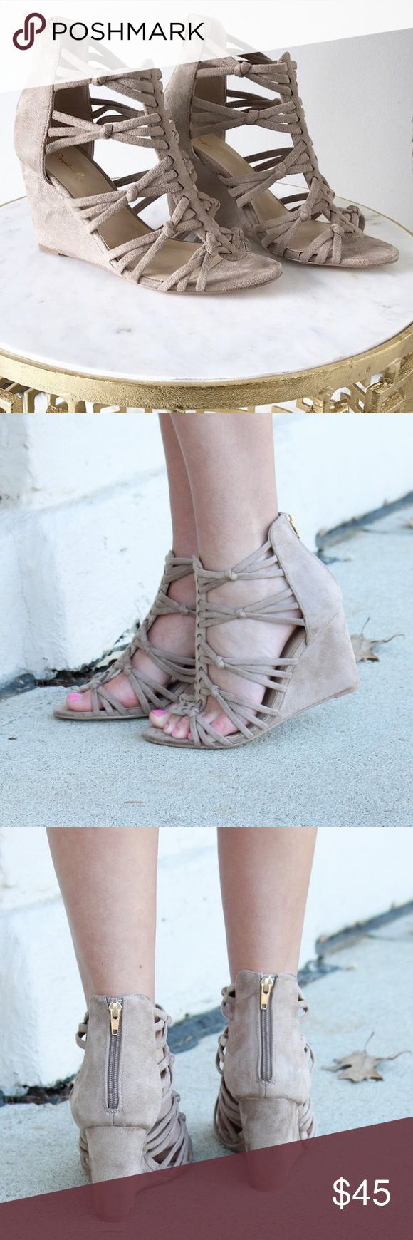 """Taupe Knotted Strappy Suede Wedge 6 Brand New Knotted Suede Strappy Wedge. This trendy Wedge is an instant outfit-maker! Heel Height 3""""     🔴No Trades🔴✅Bundle and Save✅ Qupid Shoes"""