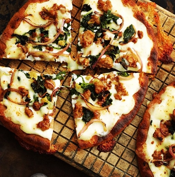 Whole wheat spinach sausage onion pita pizza