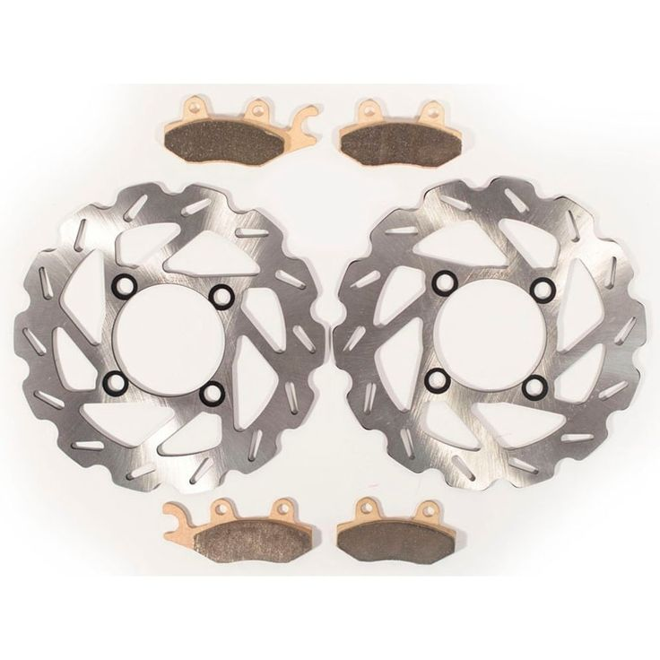 2006 2007 Yamaha Rhino YXR450 Front Brake RipTide Rotors and Severe Duty Pads, Silver stainless steel
