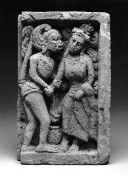 Hanuman seduces a woman, possibly Benjakai (daughter of the half-demon Vibhishana). Javanese, Majapahit period, 14th–15th century probably Trowulan, Eastern Java, Indonesia Museum of Fine Arts Boston