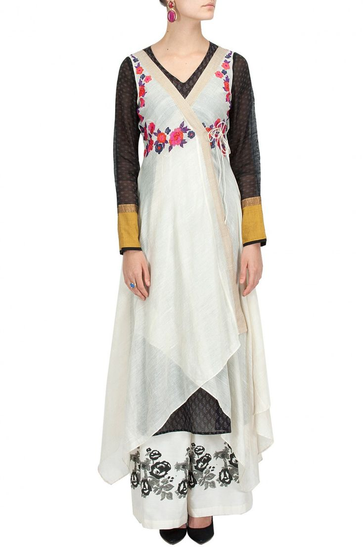 Ecru embroidered angrakha with printed slip and palazzos BY KRISHNA MEHTA. Shop now at perniaspopupshop.com #perniaspopupshop #clothes #womensfashion #love #indiandesigner #krishnamehta #happyshopping #sexy #chic #fabulous #PerniasPopUpShop #quirky #fun