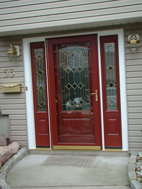 Burgundy front entry system fiberglass entry door for Front entry doors with storm door