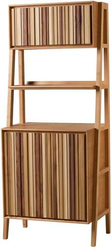 CODE Cavalletto, Cabinet made of cherry wood with 2 closed elements and 1 open shelf.