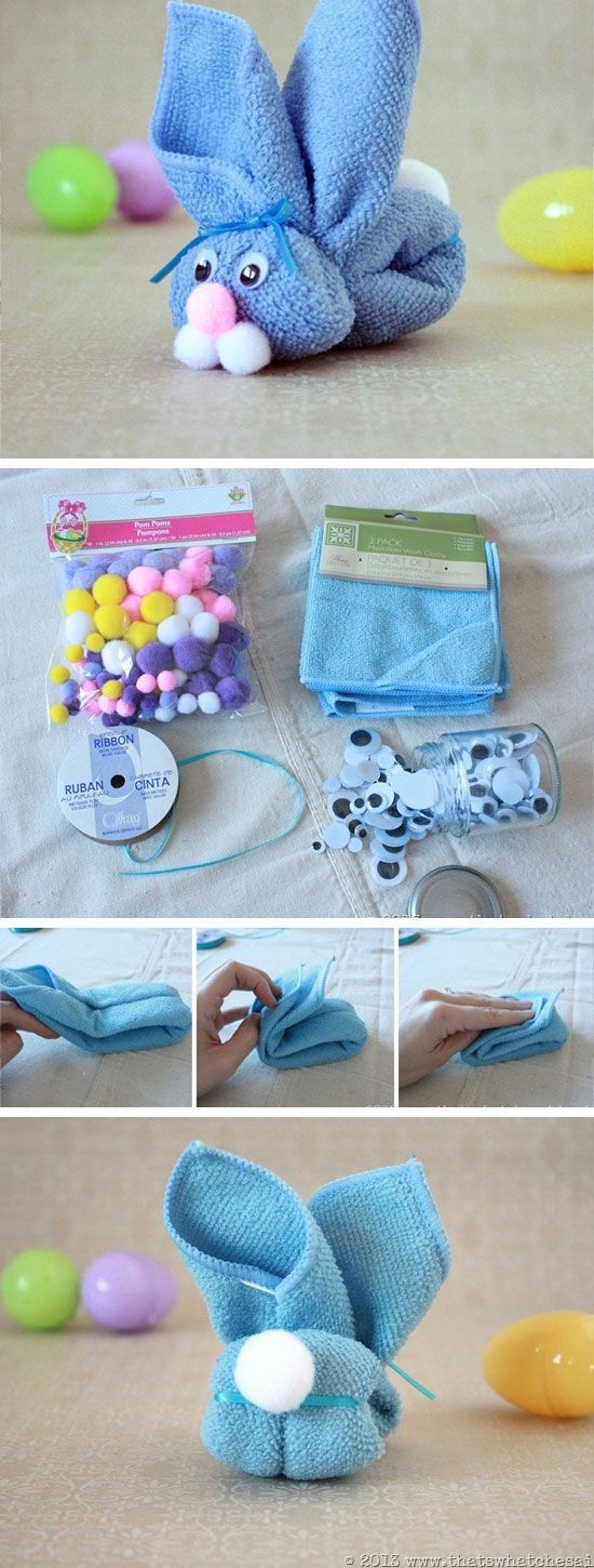 Washcloth Bunny   Easy Easter Crafts for Kids to Make