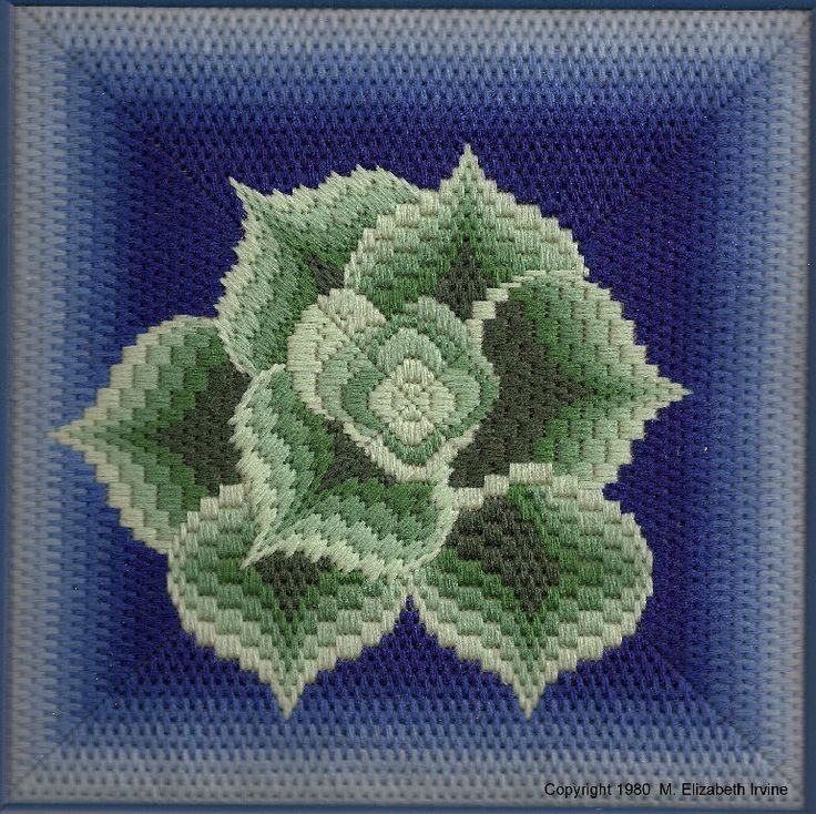 "Hens & Chicks (B10)  Intermediate level Bargello project.  This pattern includes both regular Bargello and Diagonal Bargello.  Finished size on 18-count canvas:  Aprox. 7"" square    PDF files via email $6.00"