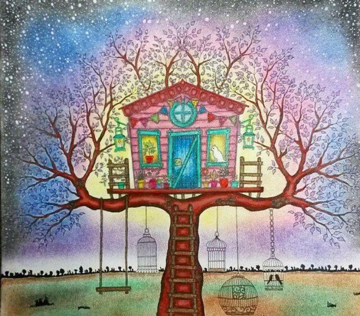 Treehouse Secret Garden Casa Da Arvore Jardim Secreto Johanna Basford Coloring BookAdult