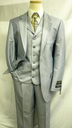 Stacy Adams Suits Blue Heather Vested Mens Fashion Suit 3806-052