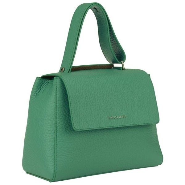 Sveva Bag ($222) ❤ liked on Polyvore featuring bags, handbags, mint, womenbags, green handbags, orciani bags, mint green handbags, mint purse and green bags