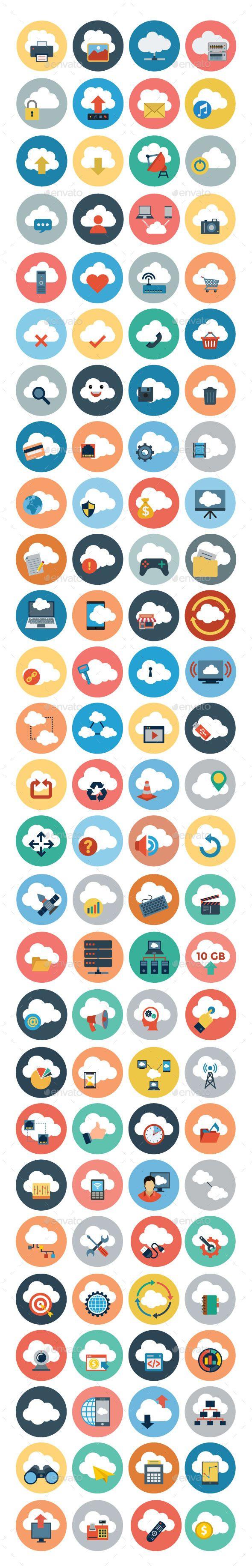 100+ Cloud Computing Flat Icons #design Download: http://graphicriver.net/item/100-cloud-computing-flat-icons/10839871?ref=ksioks