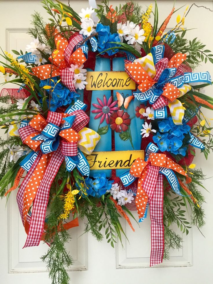 540 best summer wreath ideas images on pinterest summer for Colorful summer wreaths