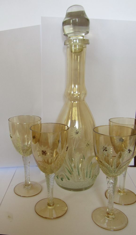 France Liquor Decanter Set 4 glasses Edelweiss Flower Ornaments MIDCENTURY #VNT