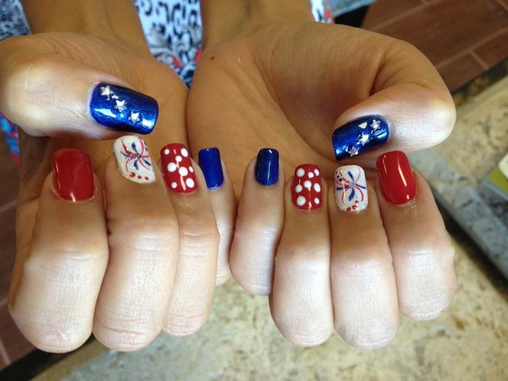 4th of July nails - Natural Nails - Gelish Polish (red, white, blue), star rhinestone embelishment, firework design- glitter and gelish polish - By Jade Phuong's Nail Artist Team at Blackhawk Nail and Spa