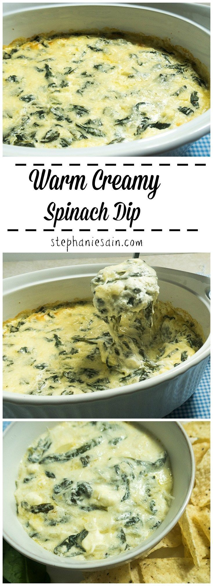 Warm Creamy Spinach Dip is an easy to prepare tasty appetizer. Perfect for entertaining or anytime you want a tasty appetizer. Vegetarian & Gluten Free.