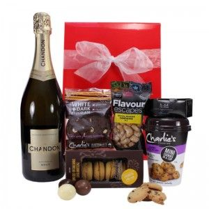 $67.00 - This is a fantastic celebration hamper it is also a great way to treat that special someone to a divine selection of delicious products coupled with a bottle of Chandon Sparkling , this gift hamper is guaranteed to delight. #gifts #giftbasket #giftbox #chandon #cashews #shortbread #macadamias #chocolatechip #cookies #chocolate #darkchocolate #whitechocolate