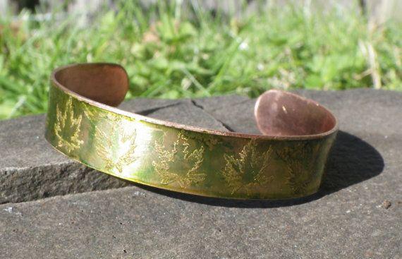 Tiny Marijuana Leaves on a Copper Bracelet