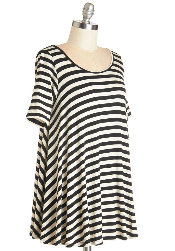 Form and Functions Top. Wondering what to wear for casual outings is a thing of the past when you have this black and white striped tee in your wardrobe!  #modcloth
