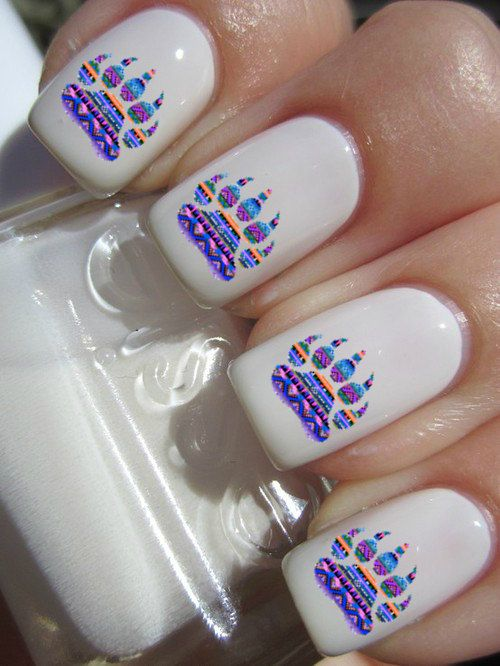 AWWWWWWWWWWW! I NEED THESE IN MY LIFE!!!!!!!!!!!!!!!!!! Tribal Print Bear Paw Nail Decals by PineGalaxy on Etsy, $4.50