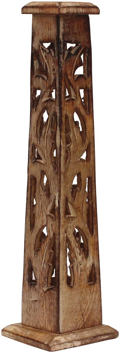 """Bulk Wholesale Incense Burner Tower in Wood – Hand-Carved 12.1"""" Ash Catcher for Incense Cone and Sticks – Home Essentials with Lattice Carving from India"""