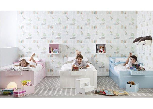 Dormitorio infantil con 3 camas nido.