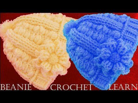 Gorros con trenzas gorditas y borde cangrejo puff tejidos a crochet... todas las tallas! - YouTube