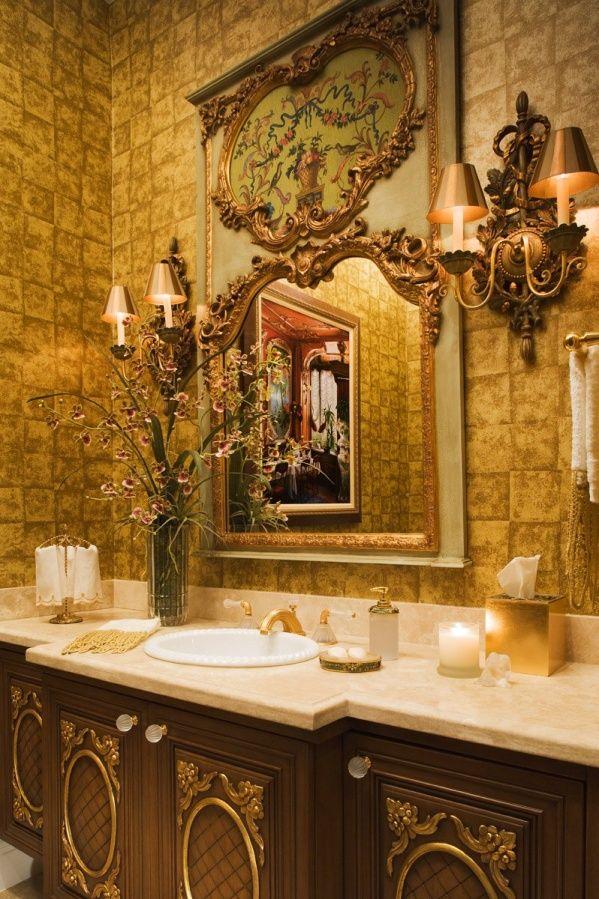 .: Wall Finish, Decor Ideas, Baroque Style, Gold Bathroom, Elegant Bathroom, Beautiful Bathroom, Powder Rooms Design, Bathroom Ideas, Bathroom Interiors Design
