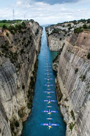 Peter Besenyei of Hungary flies through the Corinth Canal in Corinth, Greece on March 26th, 2014. - Predrag Vuckovic/Red Bull Content Pool