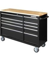 Workbenches & Workbench Accessories: Husky Work Benches 52 in. 10-Drawer Mobile Workbench with Solid Wood Top, Black HOTC5210B1AD