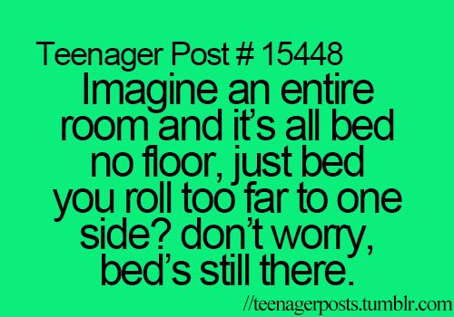 imagine an entire room and it's all bed and no floor, just bed you roll too far to one side? don't worry, bed's still there. that would be sooooo kewl if I could do that