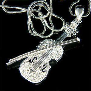 W-Swarovski-Crystal-Violin-Arco-De-Violin-musica-Musical-Joyas-Colgante-Collar-Nuevo