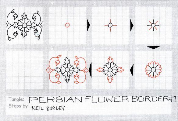 Persian Flower Border 1 - tangle pattern