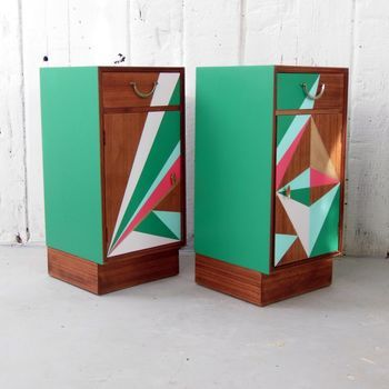 Mid Century Geometric Painted Bedside Cabinets