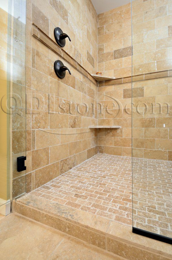 Tumbled stone tile bathroom the largest direct for Travertine tile in bathroom ideas