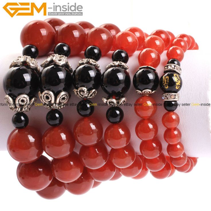 """Fashion Round Red Agate Gemstone Beads Elastic Bracelet Jewelry 7"""" Gift For Man"""