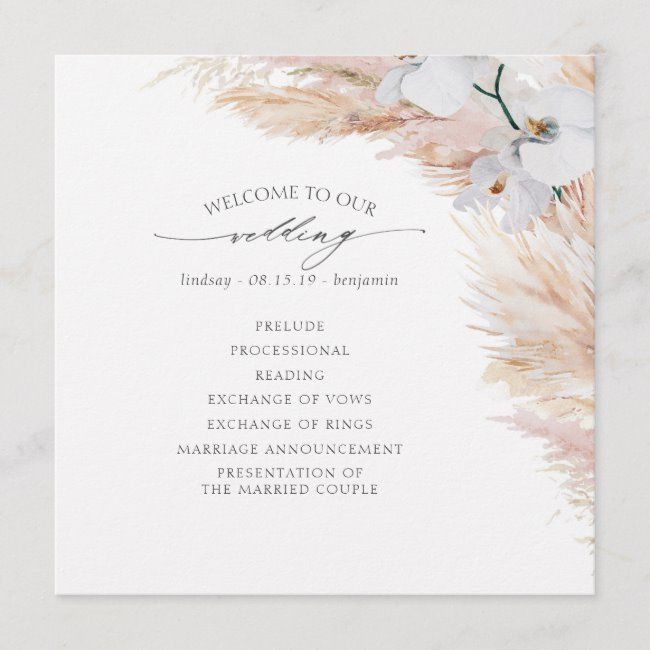 Pampas Grass White Orchids Tropical Wedding Program #Ad , #spon, #Orchids#Tropical#Wedding#White