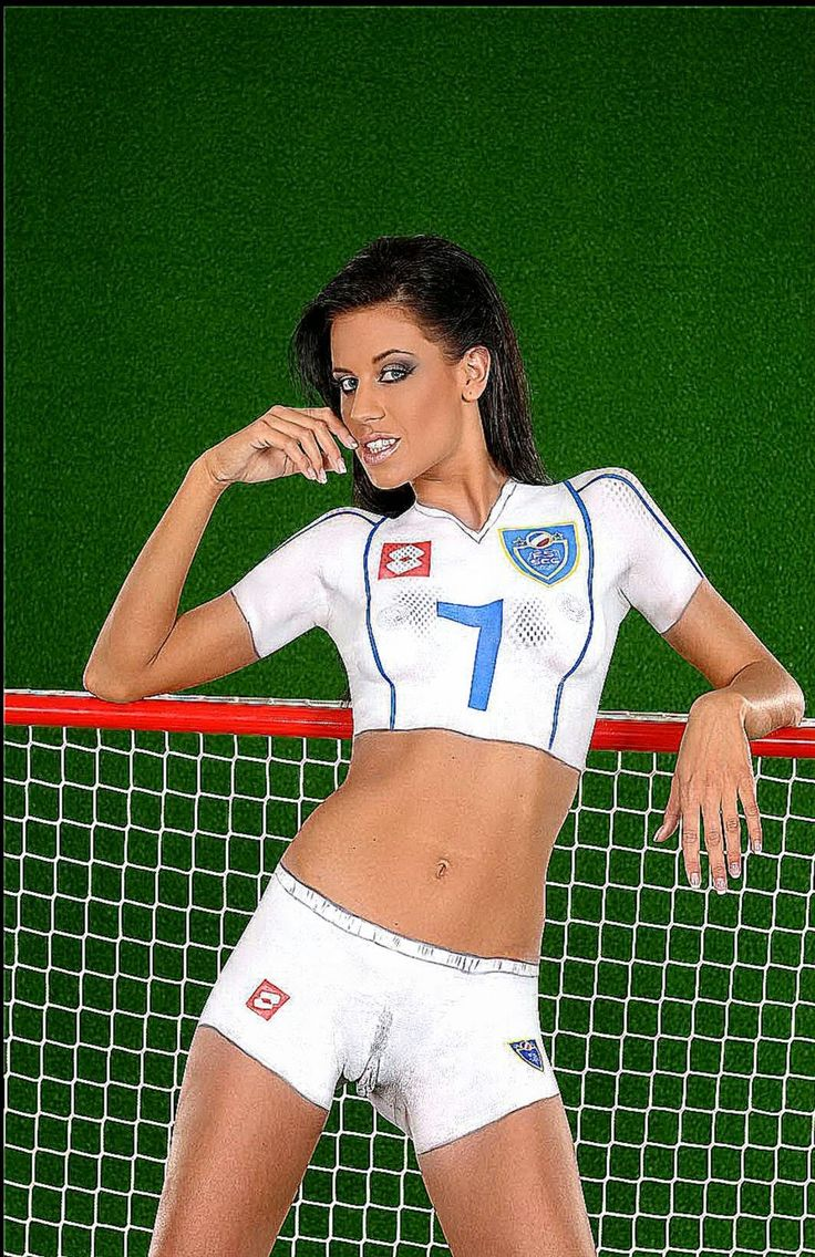 sexy body paint nude ladies soccer