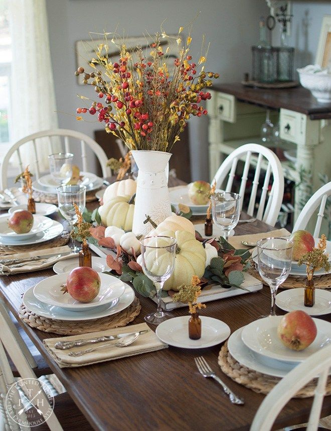 Farmhouse Fall Tablescape Fall Table Settings Fall Decor