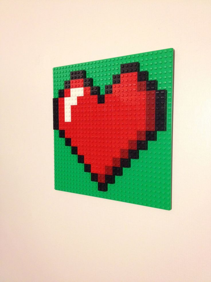 RED Or PINK Heart LEGO Wall Art Hanging Picture, Pixel 8 Bit Mosaic Bedroom  Decor