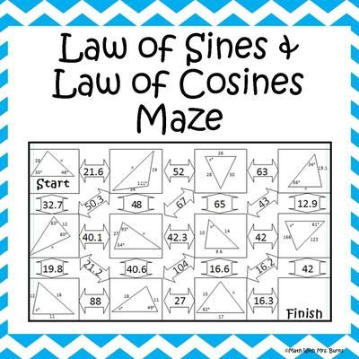 Law of Sines and Law of Cosines Maze from Amazing Mathematics on TeachersNotebook.com -  (2 pages)  - This self-checking maze has 11 problems involving the law of sines and the law of cosines.