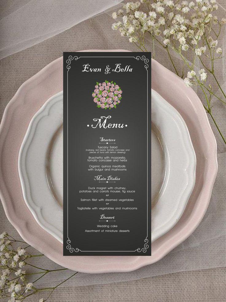 watch wedding invitation movie online eng sub%0A CHALKBOARD WEDDING MENU Design   Printable Wedding Menu   Table Setting  Stationary   Instant Download by