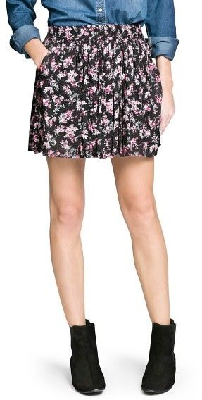 $49, Outlet Floral Print Skater Skirt by Mango. Sold by Mango. Click for more info: http://lookastic.com/women/shop_items/169328/redirect