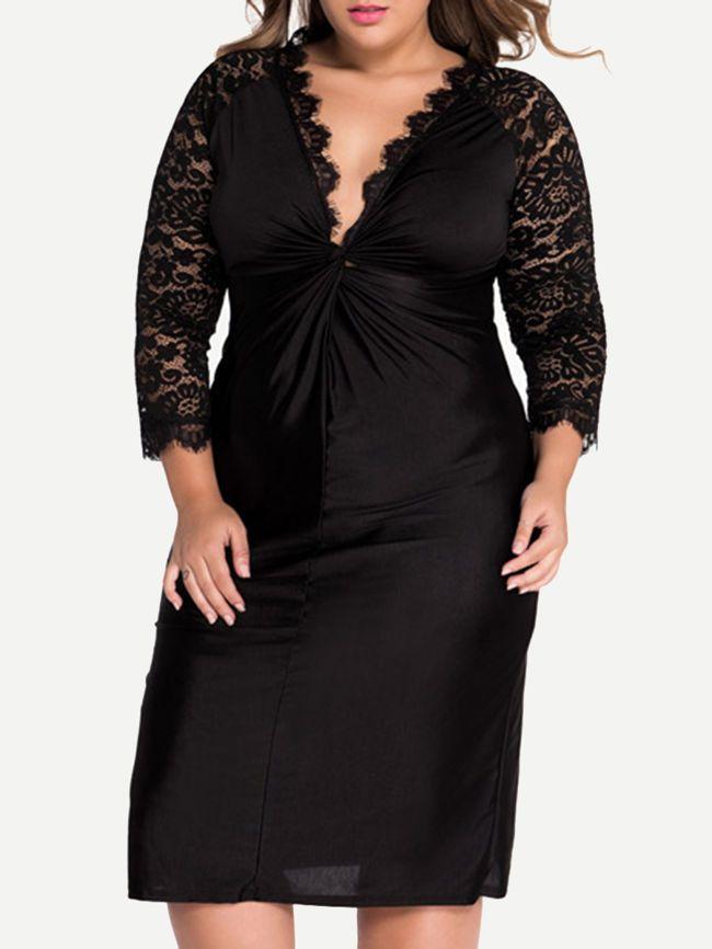 Black Sexy Deep V-Neck Hollow Out Plain Plus Size Bodycon Dress