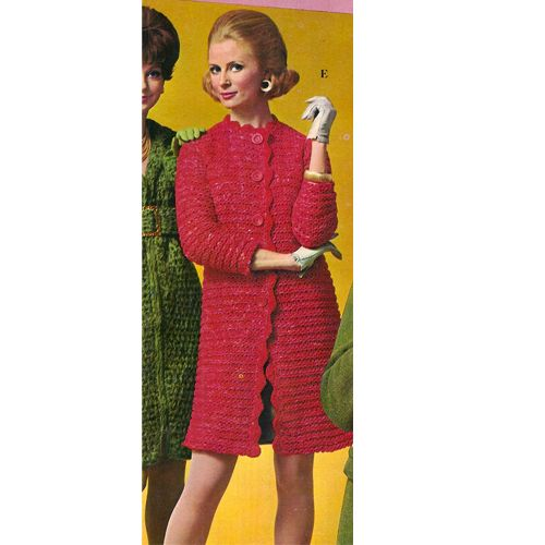 Knit Pattern for Knee Length Coat with scalloped edges.  This design is a fast and easy knit on Big Needles.