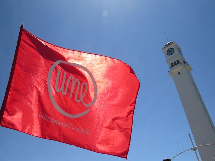 UNE's flag & campanil. University of Concepcion, Chile.