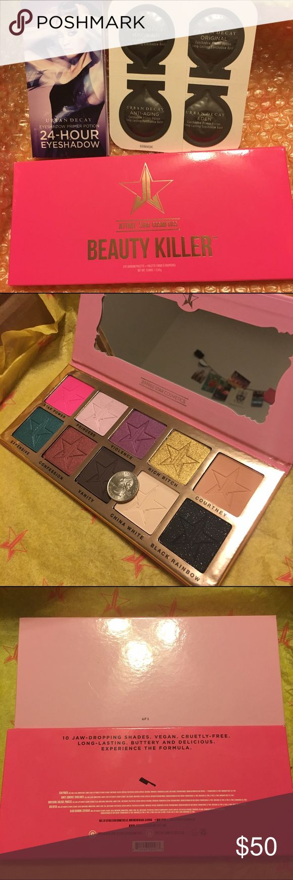 9/16 HP 🎀 Beauty Killer Pallete w/ UD Primers BRAND NEW Beauty Killer Pallete w/ 4 deluxe samples of Urban Decay Primers - Original, Eden, Minor Sin, and Anti-Aging. Gorgeous, super pigmented shades for a multitude of looks. Quarter is to show how giant each pan is! Accidentally purchased two - I am in LOVE with this pallete but unfortunately don't need 2. Primers are just a bonus 😊 9/16 best in makeup host pick! 🎀💕🎉 Jeffree Star Cosmetics Makeup Eyeshadow