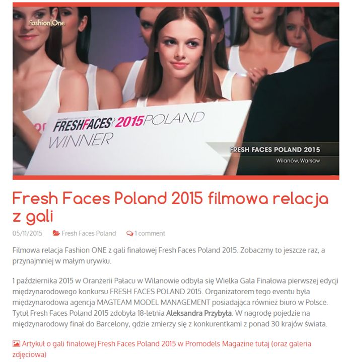 #FreshFacesPoland2015 on Promodels ! Zapraszamy do czytania i ogladania Fresh Faces Poland na Promodels !