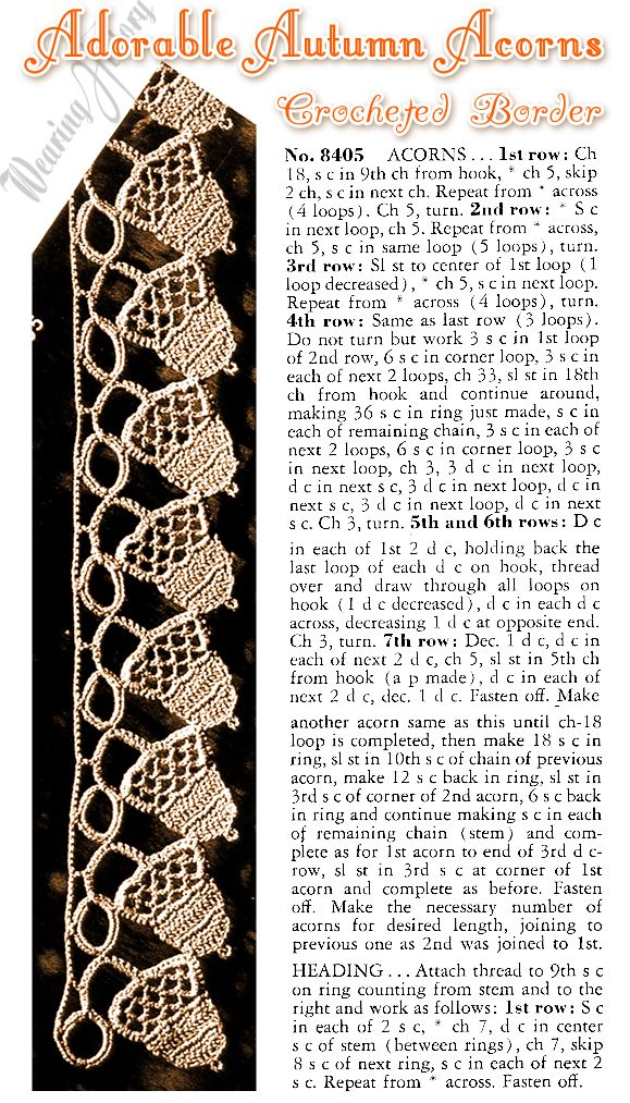 Free Vintage E-Pattern- Adorable Autumn Acorns Crocheted Border